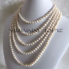 "100"" 5-7mm White Freshwater Pearl Necklace Strand Jewelry"