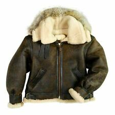 MENS VINTAGE MILITARY B3 RAF AVIATOR BROWN BOMBER REAL SHEARLING LEATHER JACKET
