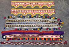 Kuchi Textile Applique Trim Tribal Belt Vintage Beaded Mirror Patch 5X LOT