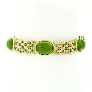 """18k Yellow Gold GIA Oval Cabochon Peridot 6.5"""" Panther Link Bracelet 42.50ctw"""