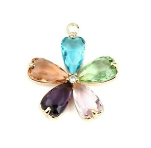 Multicolor Faceted CZ Flower Gold Plated Copper 26x24mm Bead Drop Pendant