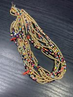 Women's Ladies Necklace Seed bead Bohemian multi strand Red coral accented 20""