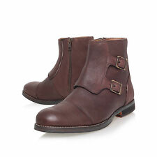 NEW KURT GEIGER KG £135 BROWN LEATHER DOUBLE BUCKLE BOOTS.. UK 6   EU 40