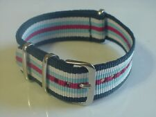 Navy/White/Blue/Red 22mm nylon G10 Military strap band fits dive & sport watch