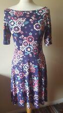 TU Ladies Dress Size 12 Blue/purple Floral Stretchy