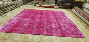 Primitive Antique 1930-1940's Overdye Fuchsia Wool Pile Oushak Area Rug 7'x9'7""