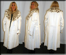 White Lambskin Leather Coat Rabbit Fur Lining Size Extra Large XL 16 Efurs4less