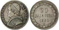 VATICAN  ,  PIE  IX  ,  20  BAIOCCHI  ARGENT  1850  AN  IV  ROME  ,  SUPERBE