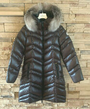 Moncler Fulmar Hooded Puffer Coat Removable Fur Trim Brown Size 4
