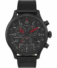 Timex TW2T73000, Field Expedition Chronograph Black Leather Watch, Indiglo, Date