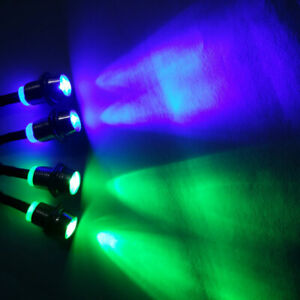 RC Model LED Night 5mm Metal Lampshade Headlights Blue and Green 4 LED Light Set