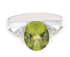 10 Kt White Gold  Peridot Ladies August Birthstone Ring
