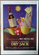 Original 1957 RETRO!!! Advert DRY SACK SHERRY Donkey