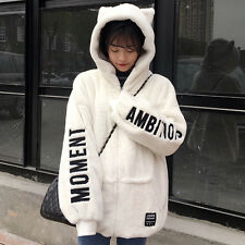 Winter Warm Kawaii Sweet Lolita Cat Ears Embroider Sweatshirt Hoodie Jacket Coat