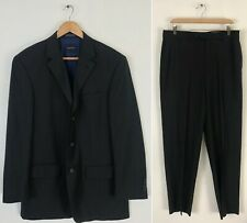 NAUTICA Men Size 42L & 36W Charcoal & Brown Pinstriped Wool Two Piece Suit