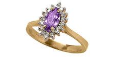 14k Yellow Gold 8x4 Mrqgenuine Amethyst Ring with 16 Genuine Diamonds. Size 6