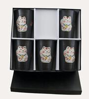 Set 5 Cristales Taza Gato Japonés Maneki Neko 13.5CM De Ceramique-Coffret -219