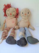 """2 Antique Georgene Raggedy Ann Dolls Unusual Blue Brown Striped Legs TLC 22"""""""