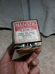 """ANTIQUE MAJESTIC PLAYER PIANO ROLL #M31589 """"WHEN THE MOON COMES OVER THE MT"""""""