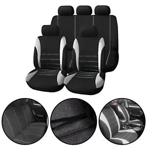 Universal Car Seat Covers Full Set Sporty Grey/Black Washable Compatible NEW