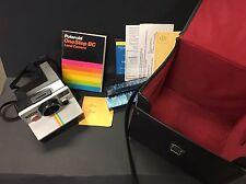 Vintage Polaroid SX-70 One Step White Rainbow Stripe Instant Land Camera & Case
