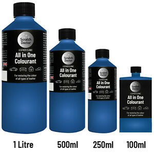 ALL IN ONE BLUE Leather Colourant. Repair & Recolour. Dye Stain Paint Colour