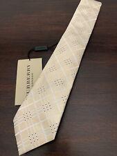 Authentic New BURBERRY Men's Classic Yellow Check Slim Skinny Silk Tie
