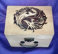 Wooden Pyrography Dragons Ying Yang lined Suitcase Box