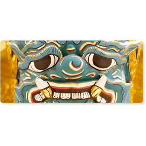 'Thai Style Mask' Large Wooden Wall Plaque / Door Sign (DP00016087)