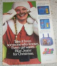 1977 vintage print ad - Blue Jeans Cologne Shulton Cute Girl Christmas Santa AD