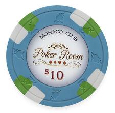 "25 ct Blue $10 Ten Dollars ""Monaco Club"" Series 13.5 Grams Poker Chips"