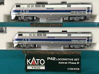 176-6102 Kato N Scale P42 Amtrak Phase IV Locomotive -2 Car Set  Rd 15/28 NIB