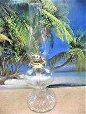 OLD ANITQUE INSIDE THREADS TALL KEROSENE OIL LAMP FOOTED ROUND GLASS WITH BURNER