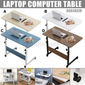 80cmx40cm Table Lit Canapé Ordinateur Portable Support Réglable Roulettes Mobile