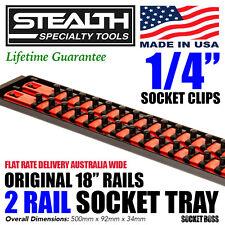 """STEALTH 2 x 18"""" Rails 1/4"""" Socket Organiser Tray Tool Organiser Holder Imperial"""