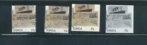 Tongo, proof stamps, Zeppelin, Aviation, Specimen, UPU Congress