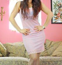 VTG Sheer Soft Baby Pink Nylon Scalloped Fancy Lace Full Slip Dress sz S