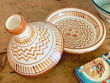 "12.5"" Large Moroccan Clay Serving Tagine Hand Painted in White and Orange"