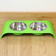 Green Double Stainless Steel Cat Bowl Food/Water/Biscuit Twin Feeding Dish Stand