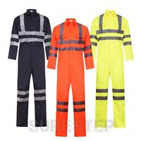 HI Viz Overalls Yellow Orange Navy Coverall Mechanics Boiler Suits |M-3XL|