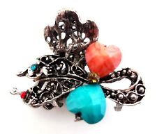 """Hair clip hearts clamp claw 2"""" antiqued silver metal blue orange crystals"""