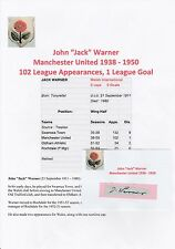 JACK WARNER MANCHESTER UNITED 1938-1950 VERY RARE ORIGINAL HAND SIGNED CUTTING