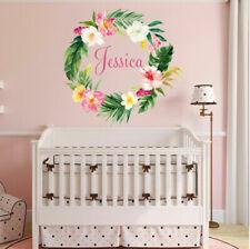 Flower Wreath Custom Personalised Name Kids Wall Sticker Decal Nursery Decor