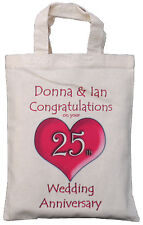 PERSONALISED - 25th WEDDING ANNIVERSARY GIFT BAG Silver
