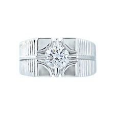 1.25 Ct Round Cut D/VVS1 14K White Gold Fn Sterling Silver Men's Solitaire Ring