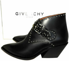 Sz 36.5 Givenchy Black Leather Studded Boots Elegant Western Ankle Booties Shoes
