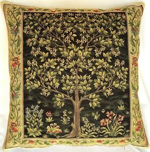 """WM MORRIS ARTS & CRAFTS TREE OF LIFE 18""""X18"""" BELGIAN TAPESTRY CUSHION COVER 5000"""