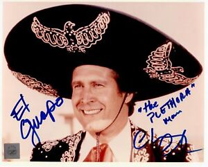 Chevy Chase Autographed Three Amigos 8x10 Color Movie Photo with Inscriptions