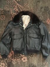 Vintage R Sherman Mens Leather Jacket Faux Fur Lining And Collar Size Small