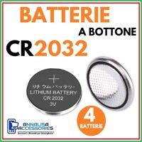 4 BATTERIE AL LITIO CR2032 3V VOLT PER OROLOGIO AUTO STOCK PILE 2032 A BOTTONE